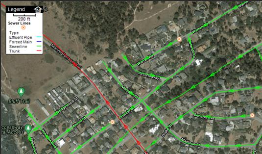 Snapshot of GIS sewer line layer.