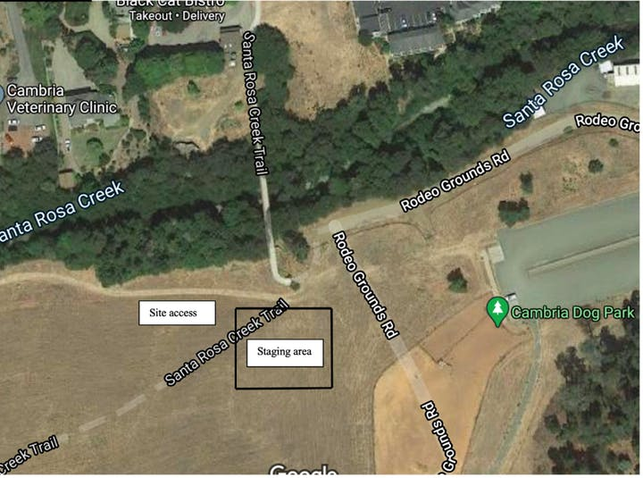 Aerial map of staging site