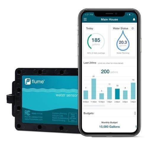 Flume water sensor; smartphone with Flume app