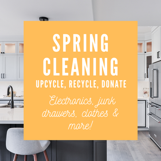 Spring Cleaning, upcycle, recycle donate logo. Contains: indoors, room, and kitchen picture