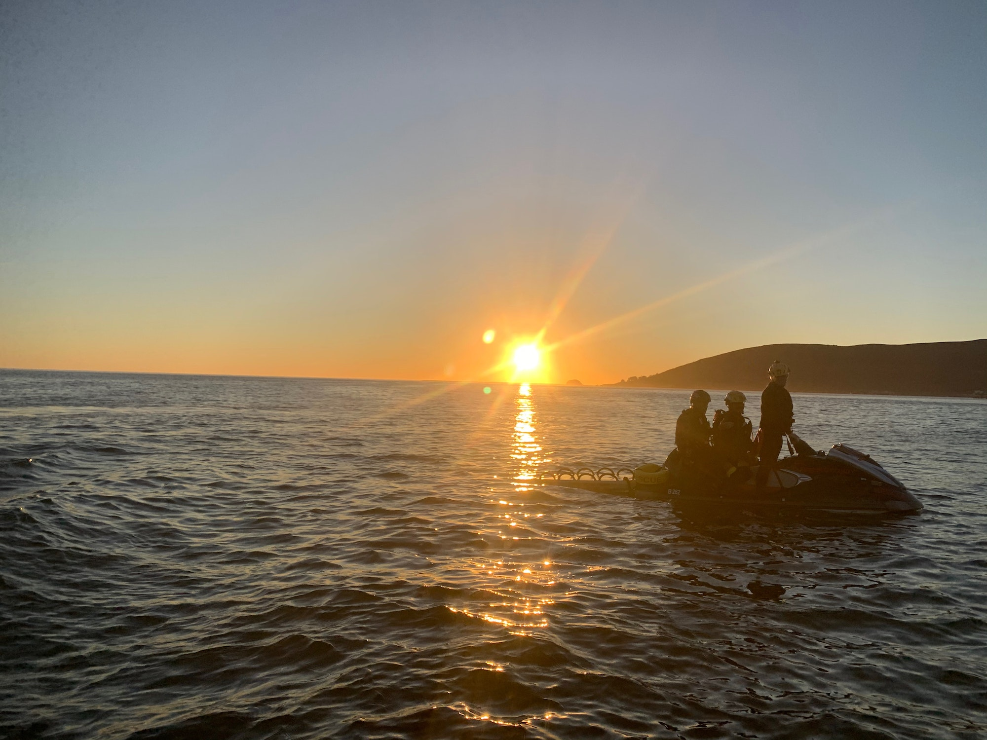 ocean, fire fighters, training, Avila, sunset
