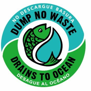 logo, fish, dump no waste, blue and green circle