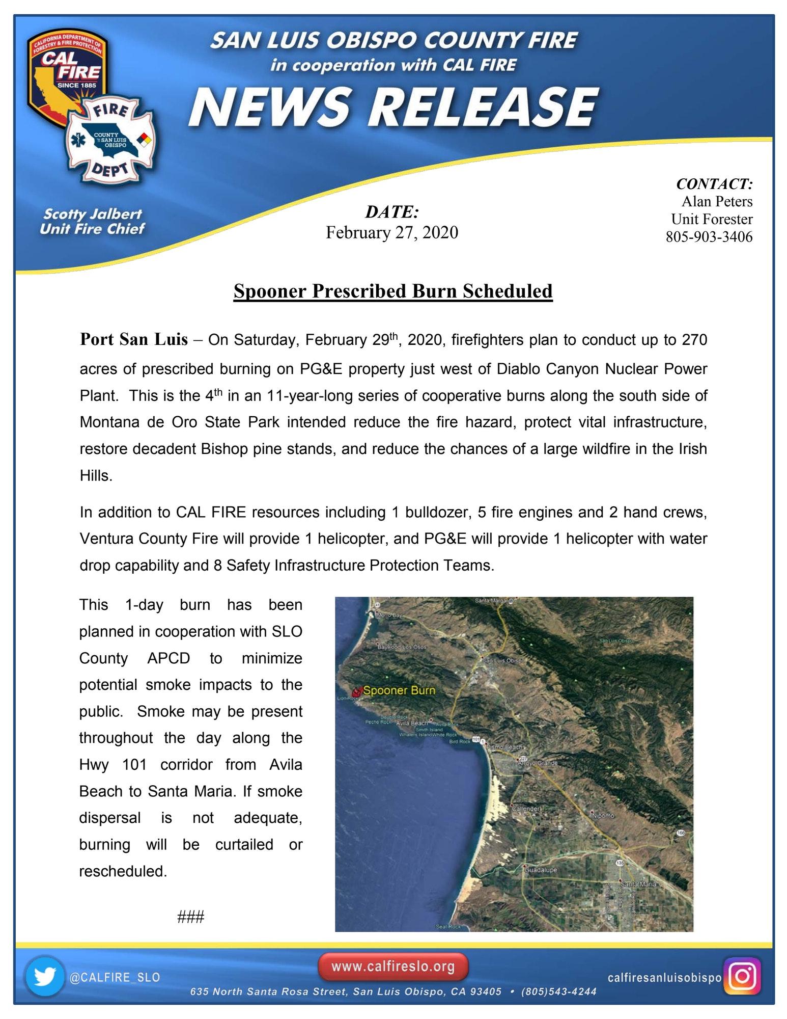 cal Fire News Release