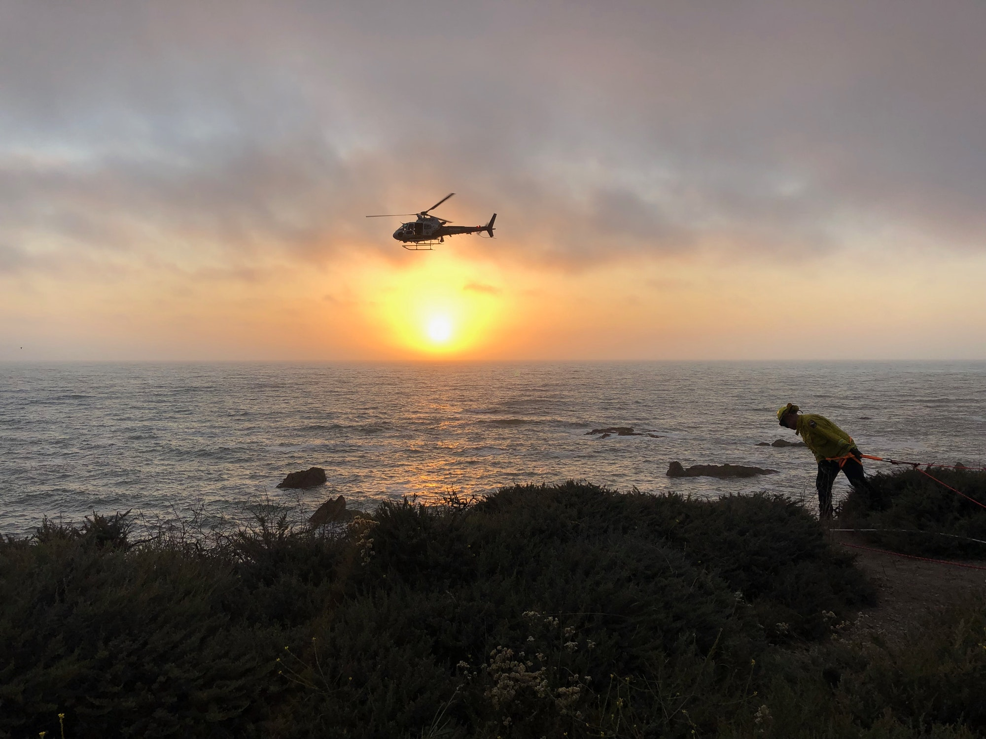 helicopter, fire fighter, cliff, sunset