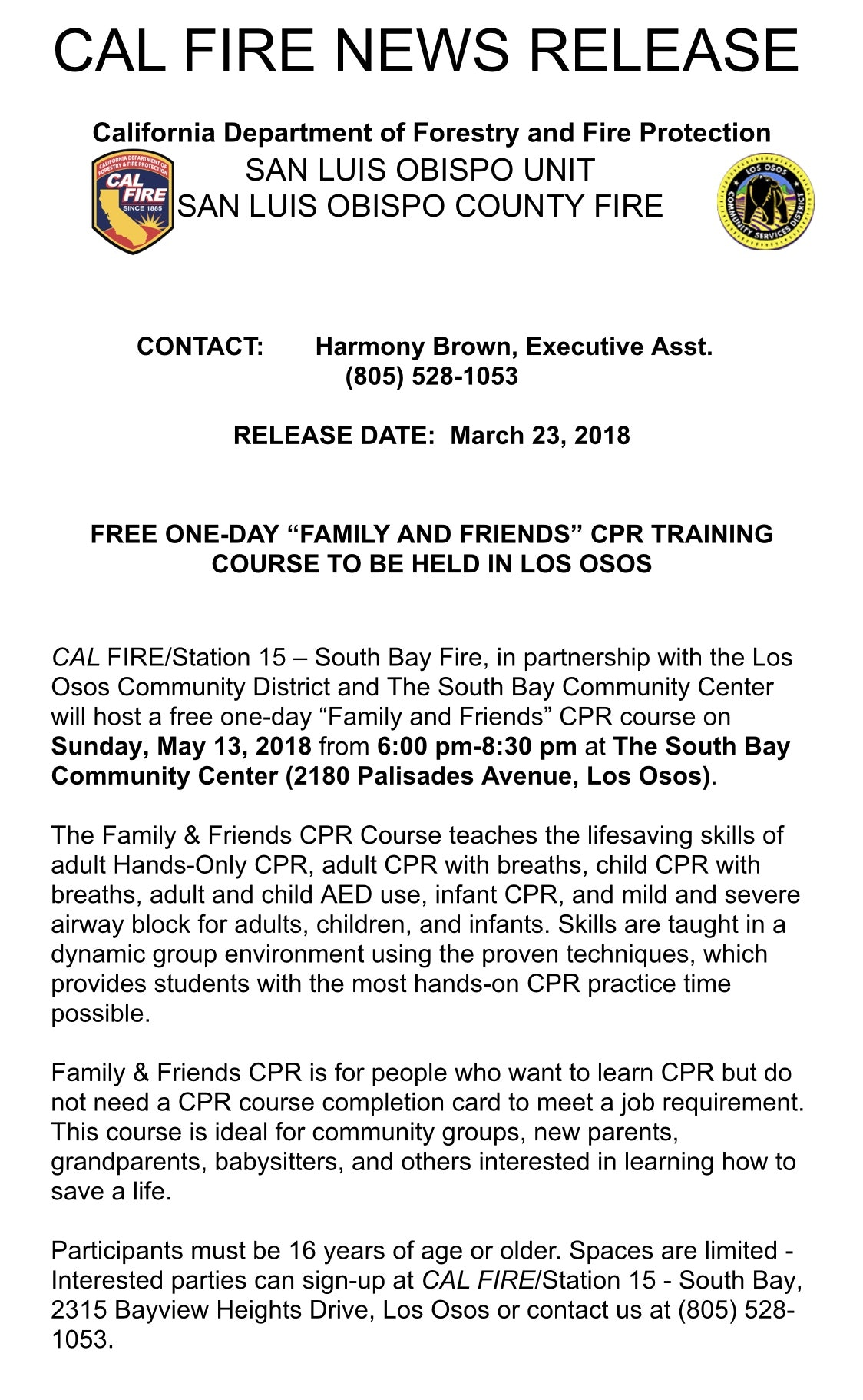 Press Release Community Cpr Class Los Osos Community Services