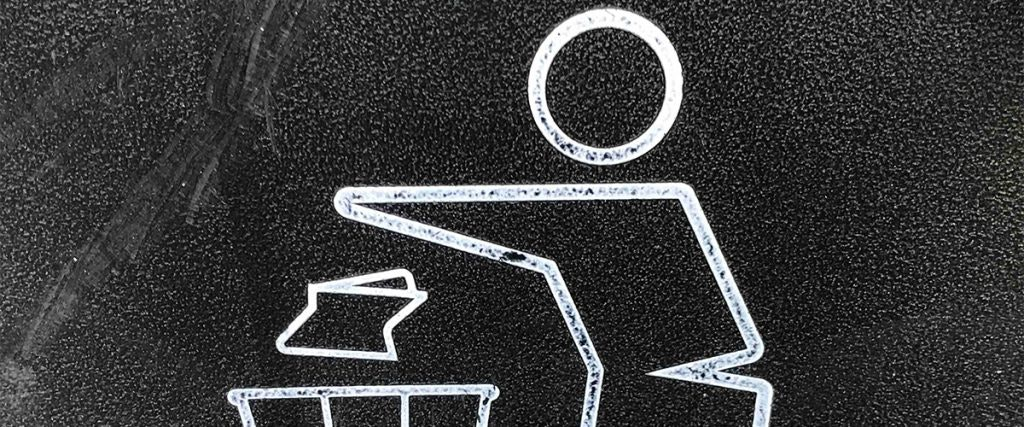Wishcycle, stick figure throwing out trash