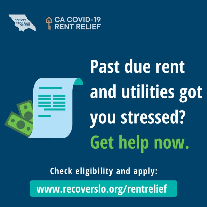 Advertisement for CA COVID-19 Rent Relief recoverslo.org/rentrelief