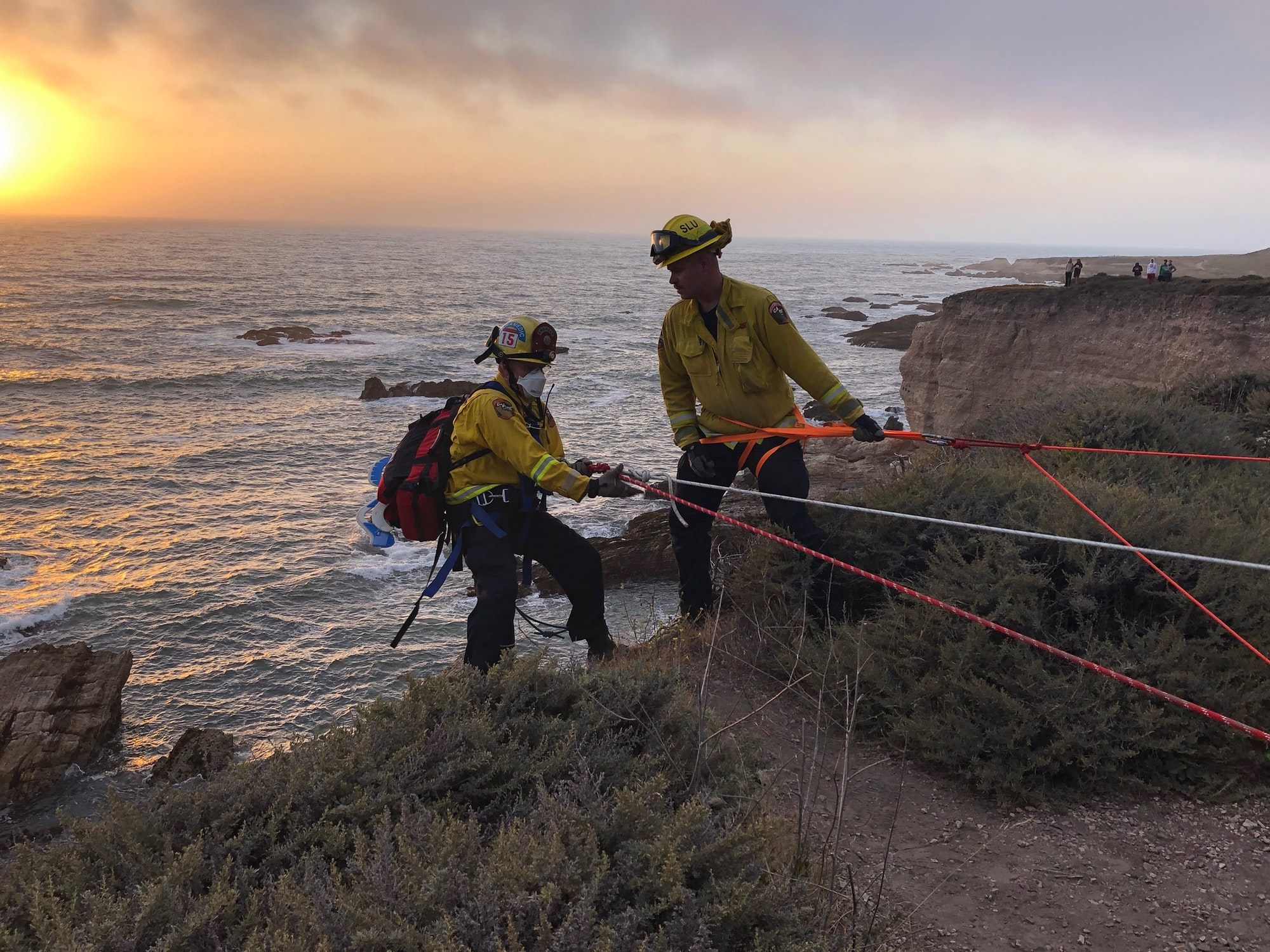 Fire Fighters Cliff Rescue