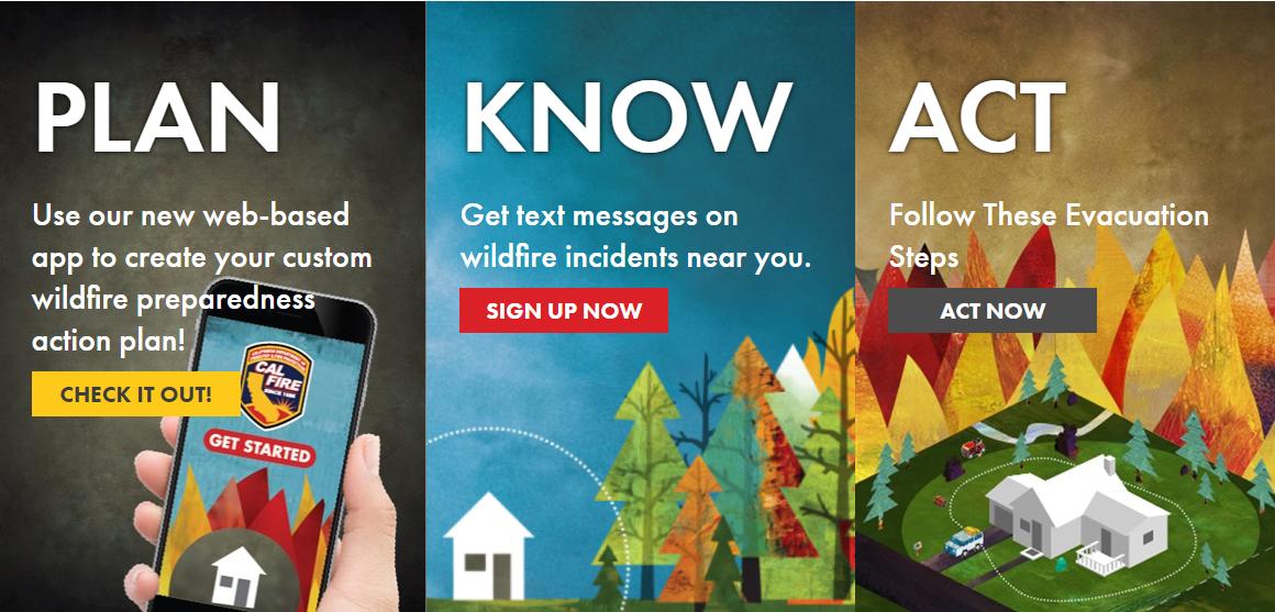 Readyforwildfire.org, Plan, Know Act Logo