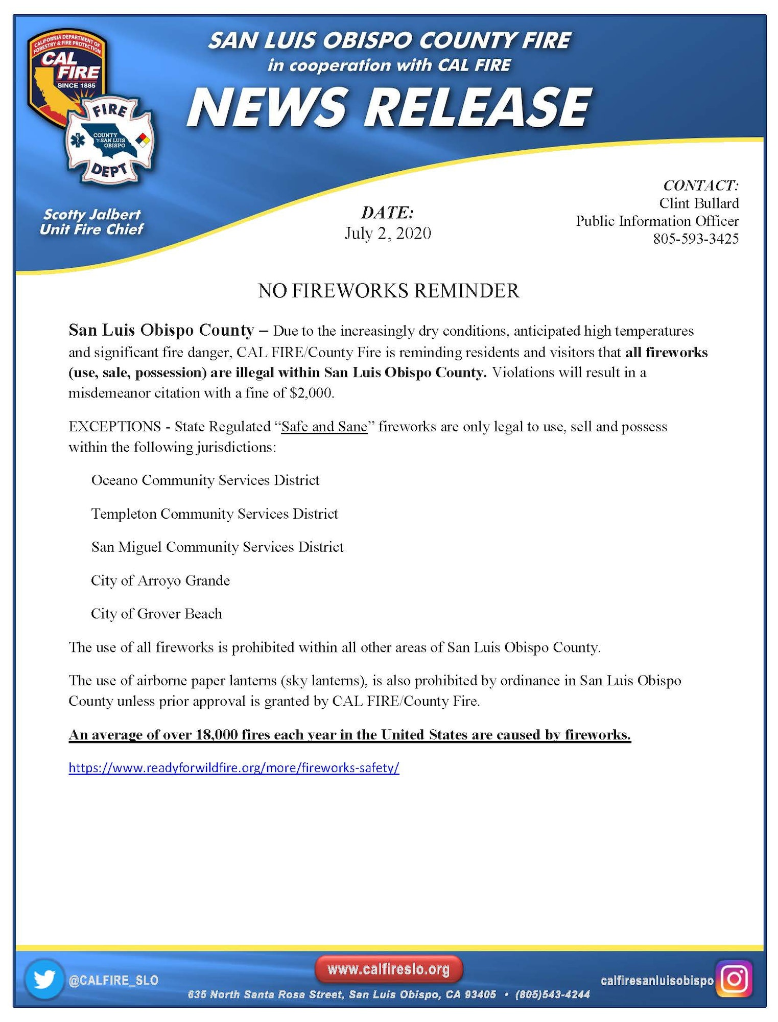 CalFire Flyer for No Fireworks in Los Osos