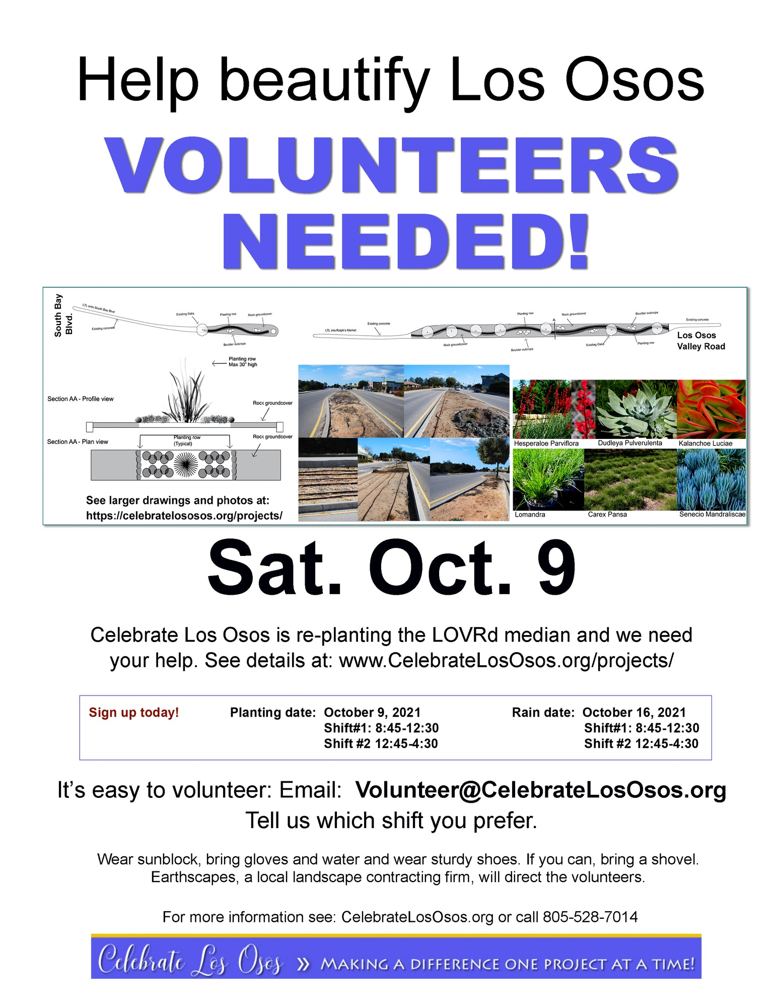 May contain: flyer; celebratelososos.com, Volunteers needed to add flowers to Los Osos Median