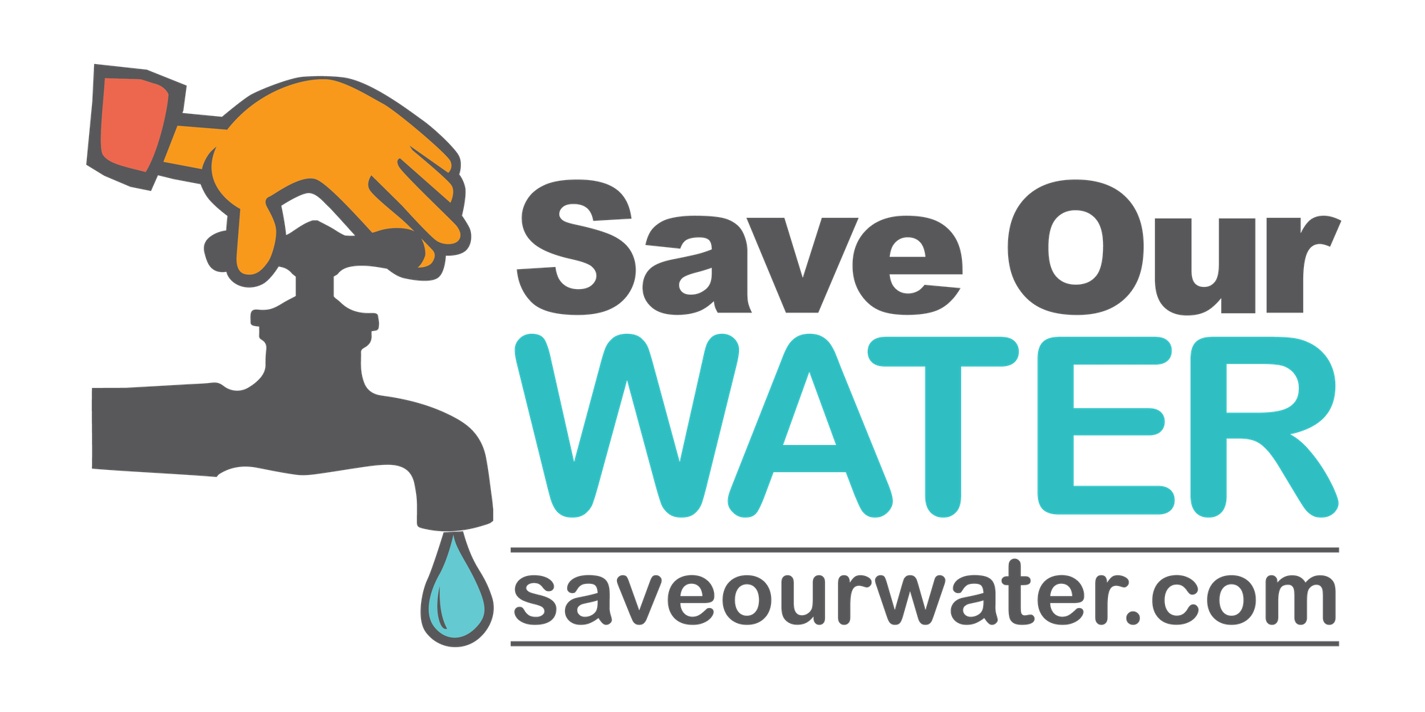 Cartoon Faucet and hand, Text Save Our Water, Text saveourwater.com