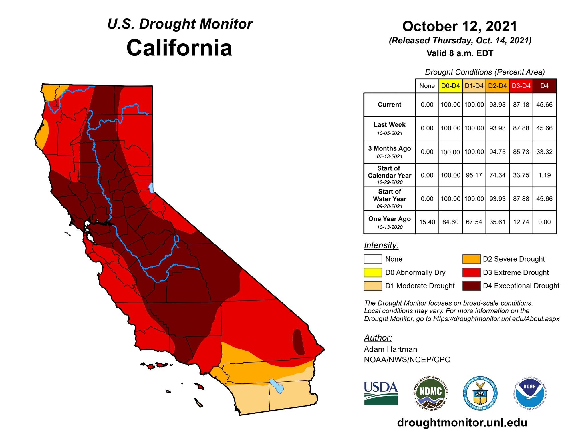May contain: plot and diagram, California Drought Monitor 10.14.21