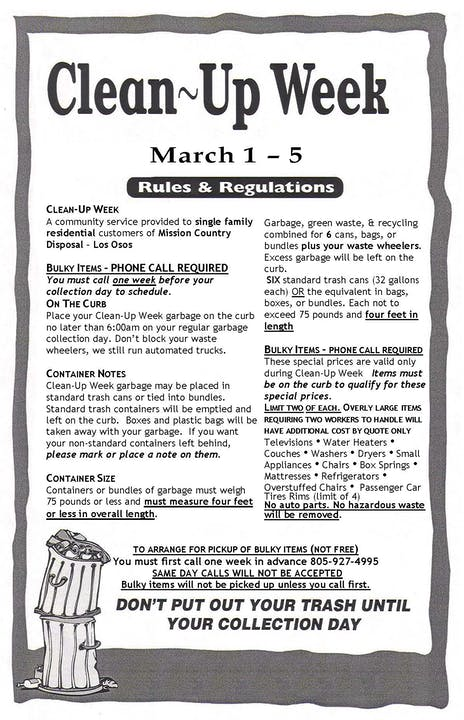 May contain: advertisement, flyer, text, clean up week March 1-5 Mission County Disposal