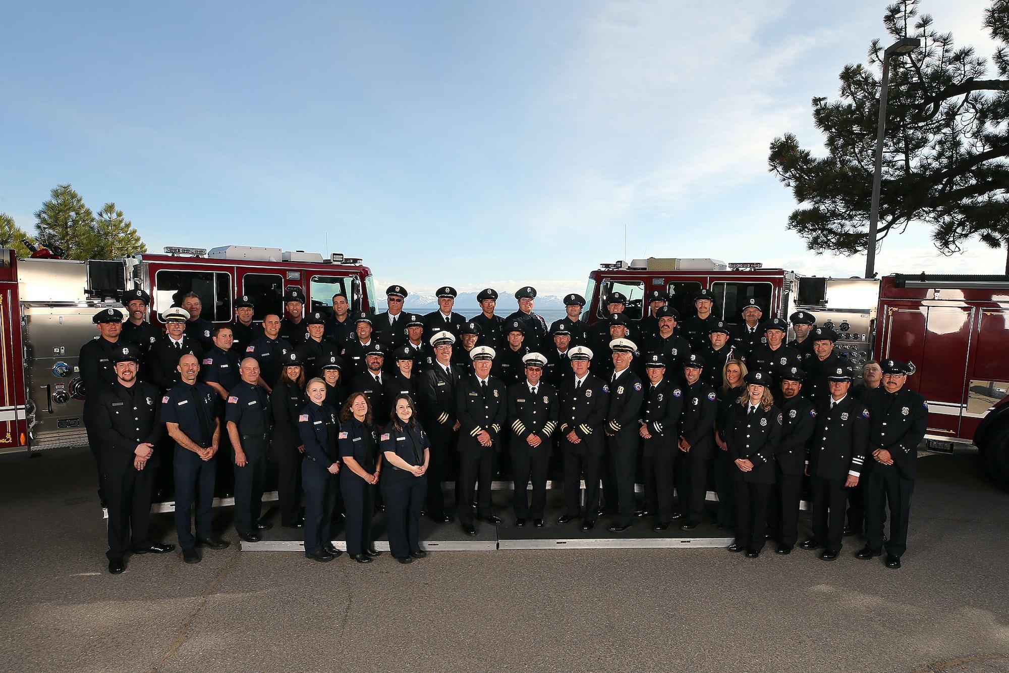 Fire staff in uniforms