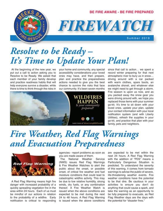 FireWatch newsletter - page 1