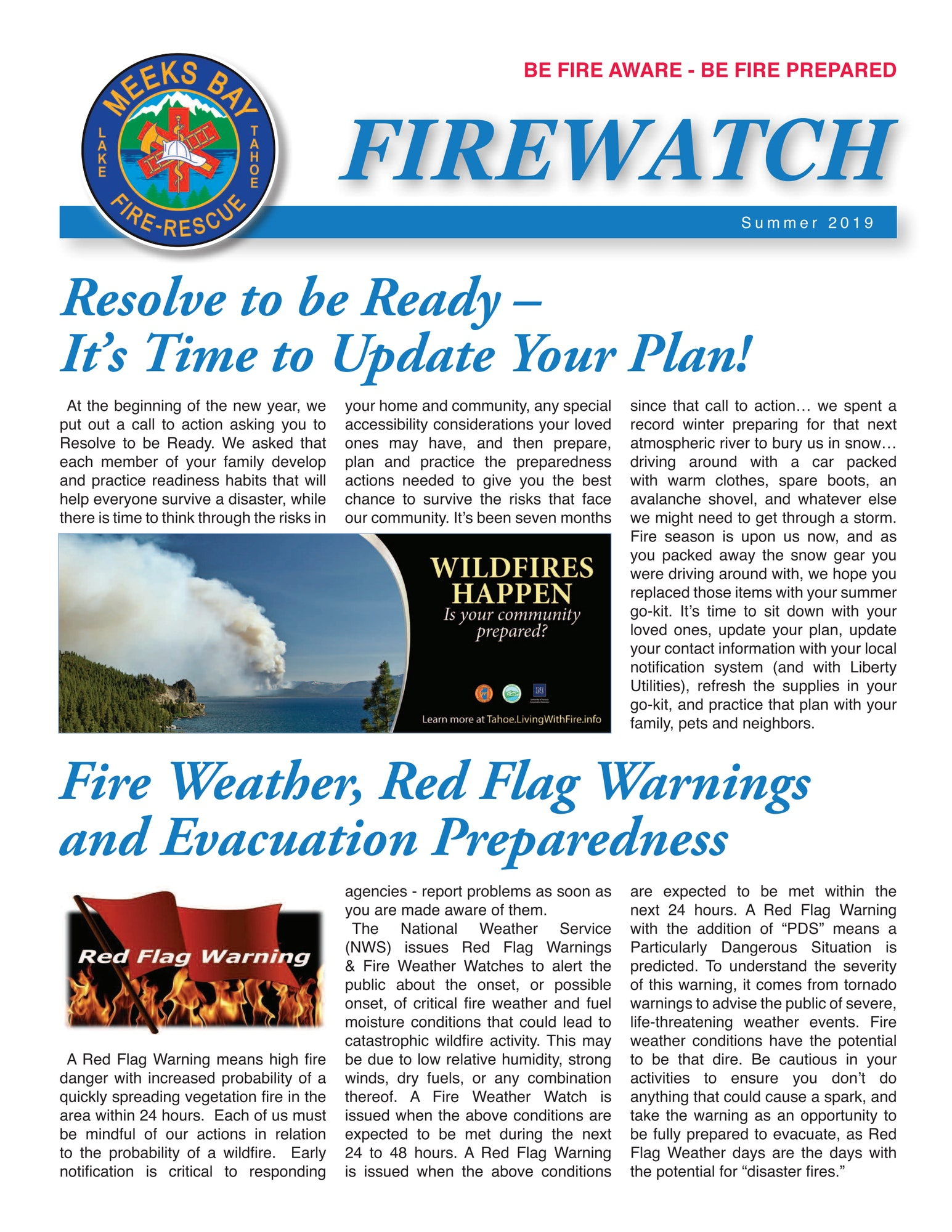 FireWatch newsletter - page 1
