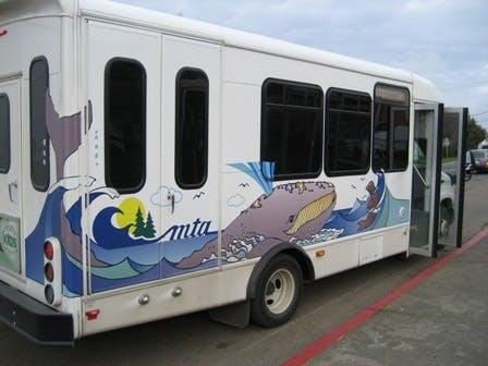 May contain: transportation, bus, vehicle, and van