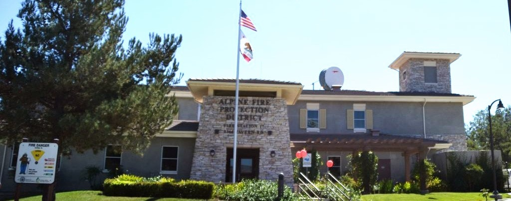 fire station, flag, trees, grass
