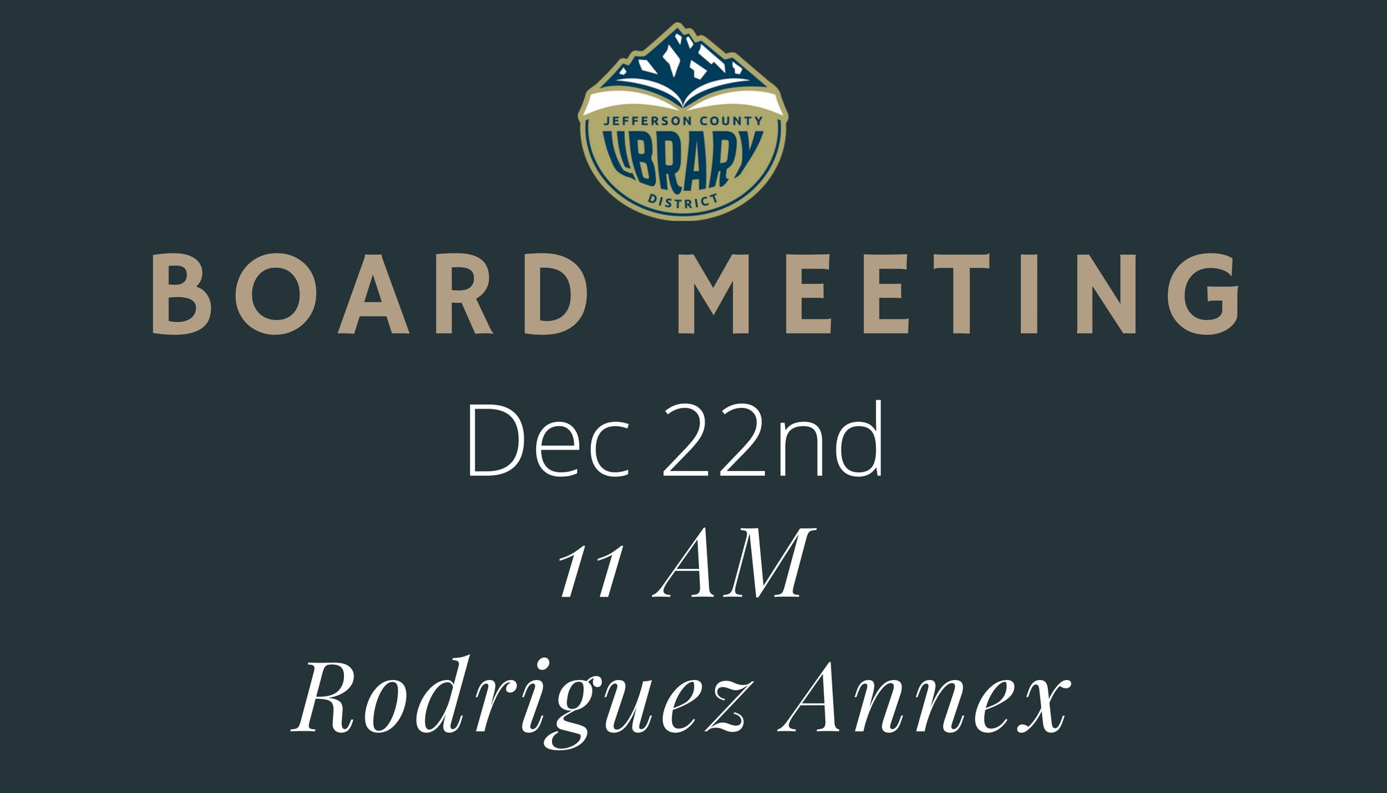 Board Special Meeting Announcement 12/22/20 at 11 am