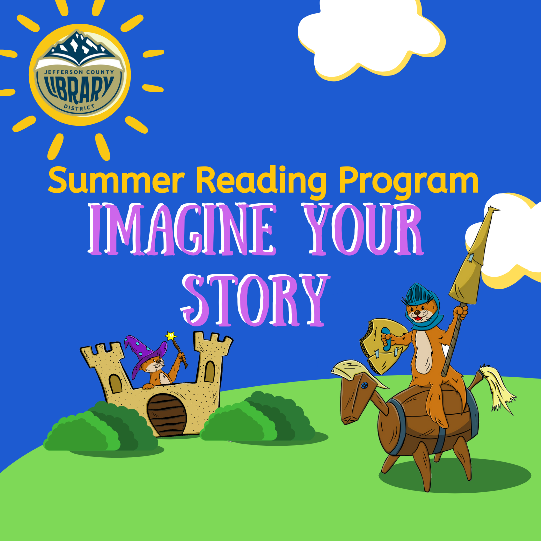 Summer reading program logo with Ollie the Otter as a knight and a wizard.