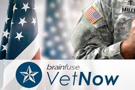 VetNow logo along with a person, human, military, and military uniform