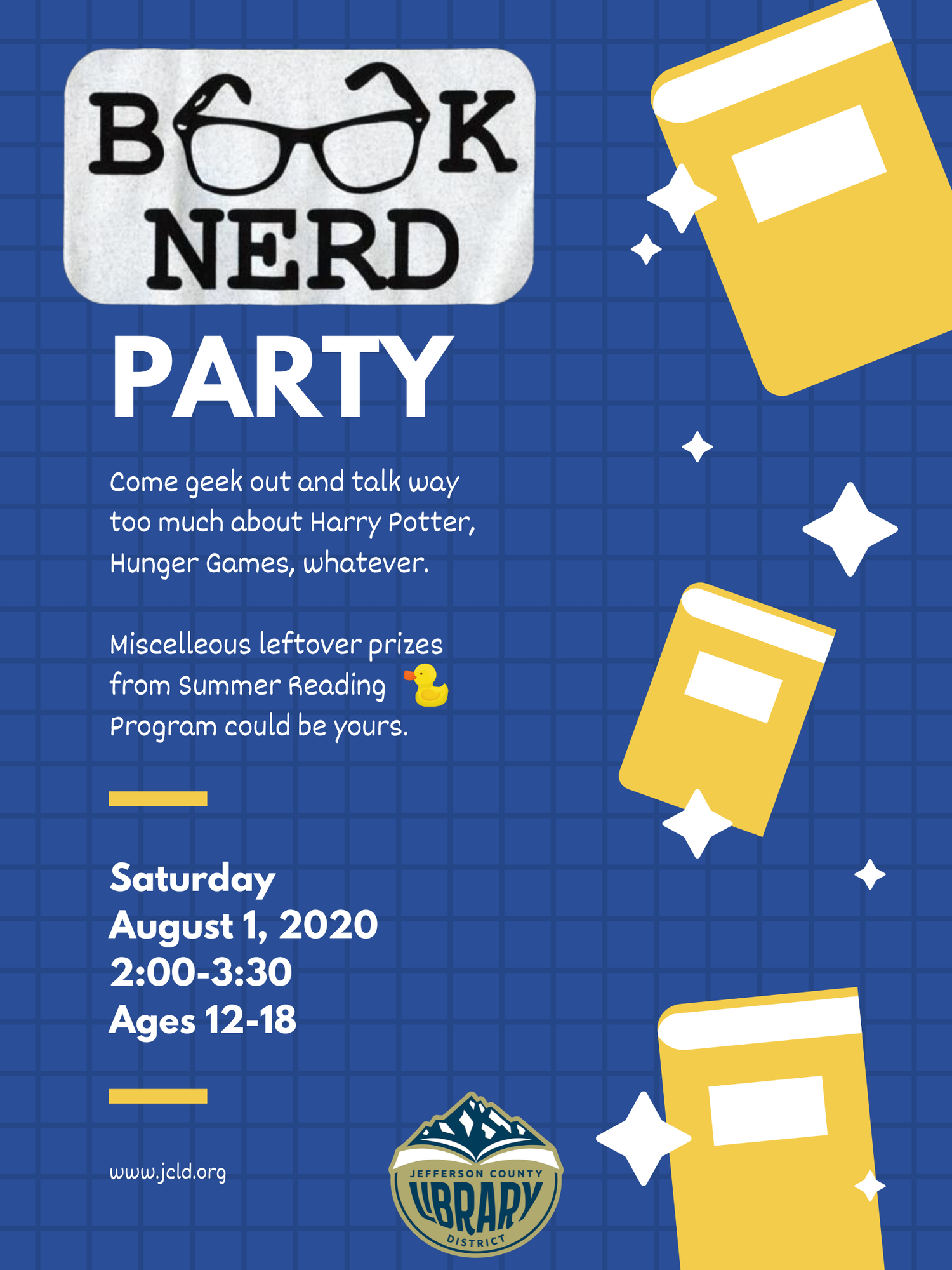 Flyer for Teen Book Nerd Party