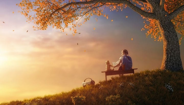 May contain: person, human, sitting, nature, outdoors, furniture, sky, bench, plant, grass, and scenery