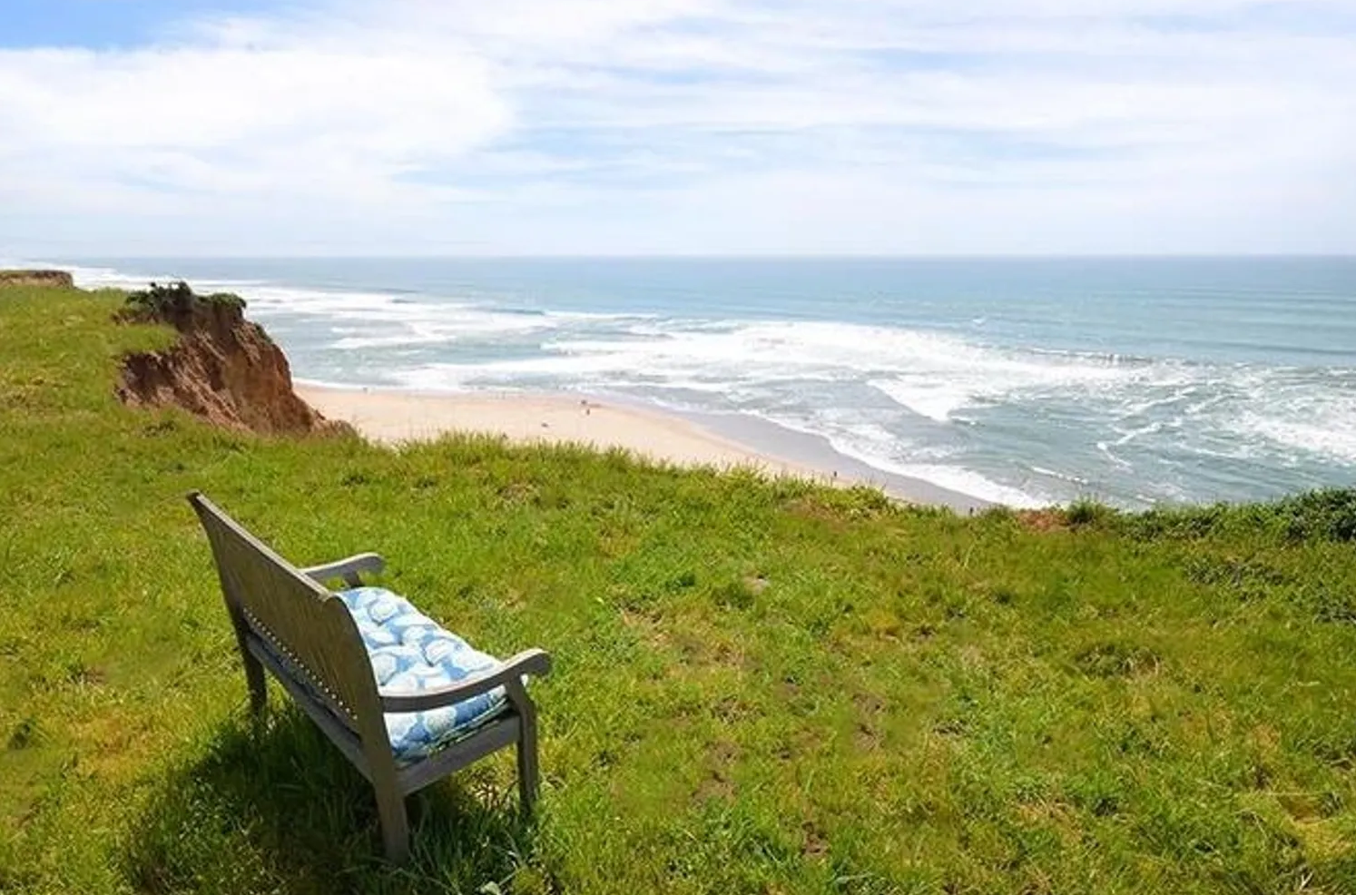 May contain: furniture, plant, grass, shoreline, water, chair, nature, sea, outdoors, ocean, coast, and beach