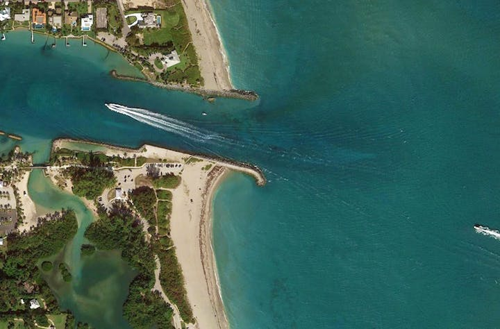 high altitude aerial view of jupiter inlet looking straight down