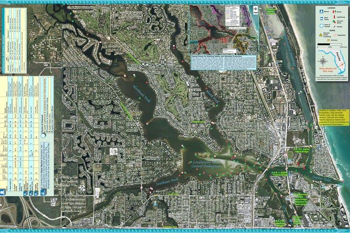 Map of Loxahatchee River and Jupiter inlet. Please call the District at (561) 746-2223 for a detailed description.