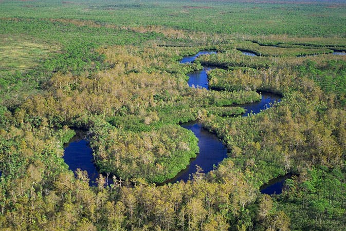 aerial view of the meandering Loxahatchee River with natural land surrounding the waterway