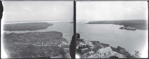 1890 black and white photo looking east with waterways of the Jupiter Inlet and building on shoreline shown