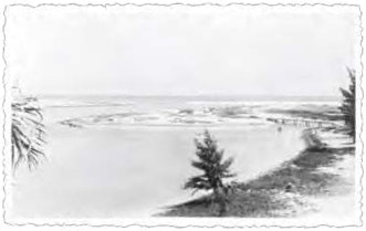 1930 photo showing waterway with shoreline and tree