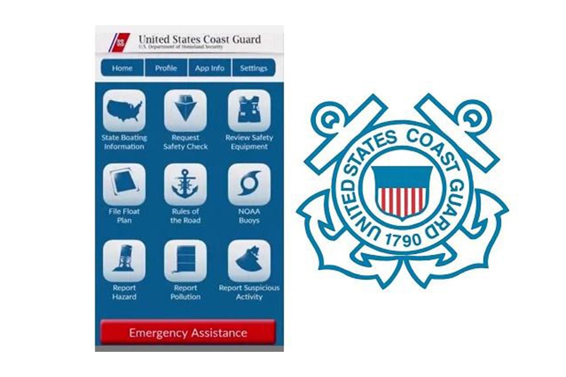 U.S Coast Guard logo with app home screen