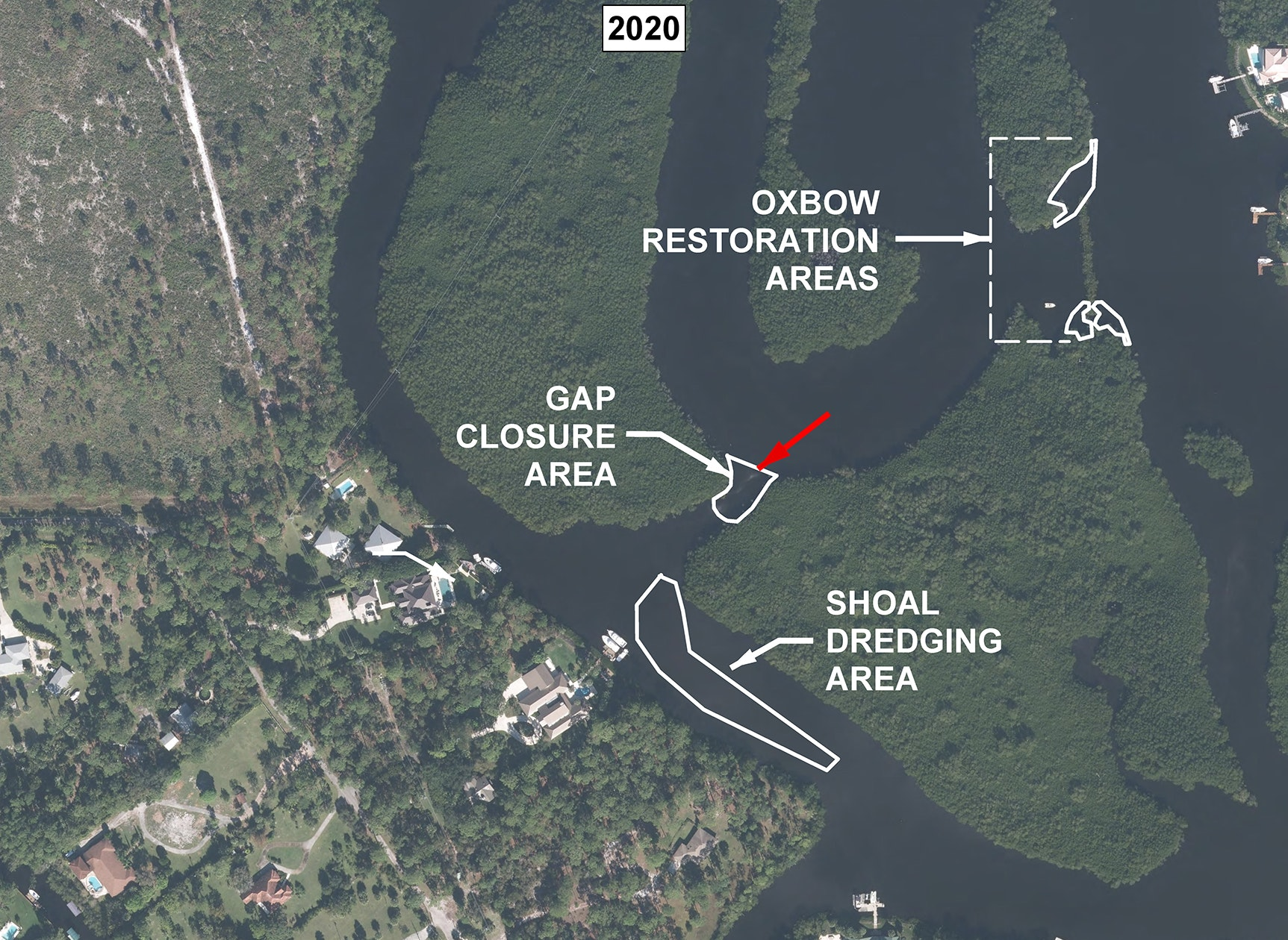 aerial view of meandering river bends labeled with areas including shoal dredging area, gap closure area, and oxbow restoration area