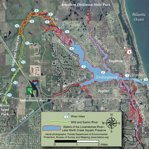 map of the Loxahatchee River Lake Worth Creek Aquatic Preserve with boundary markers. Please call the District at (561) 746-2223 for a detailed description.
