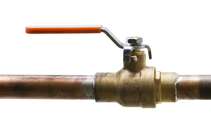 A picture of a shut-off valve on a water line