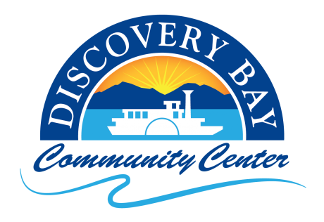 Town of Discovery Bay Community Center logo, The words Discovery Bay over a steam boat with a mountain range and sunset in the background.