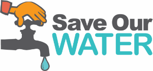 May contain: logo for Save Our Water, cartoon hand closing a water faucet