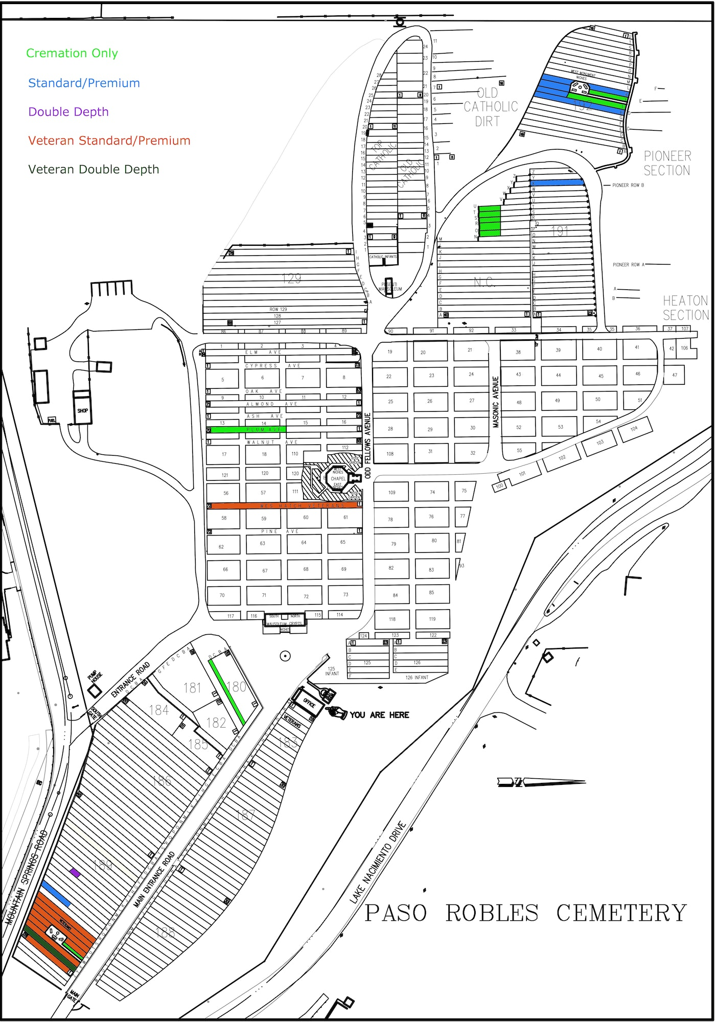 Map of Cemetery Grounds