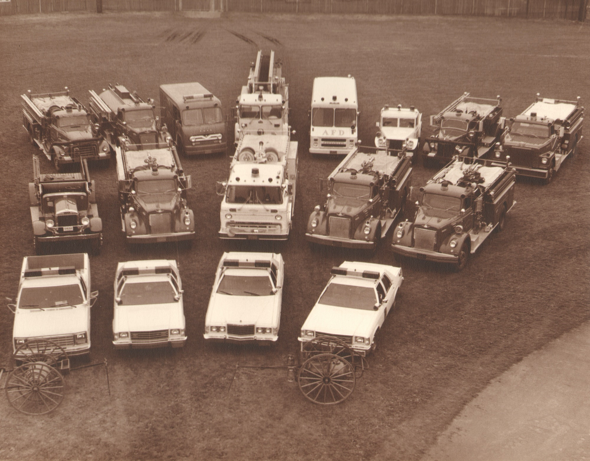 Group photo of fire engines