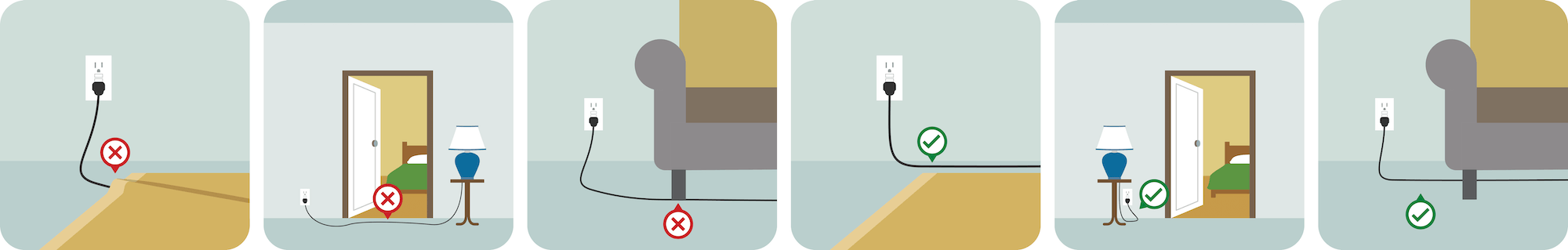 Example of not putting power cords under rugs or furniture.