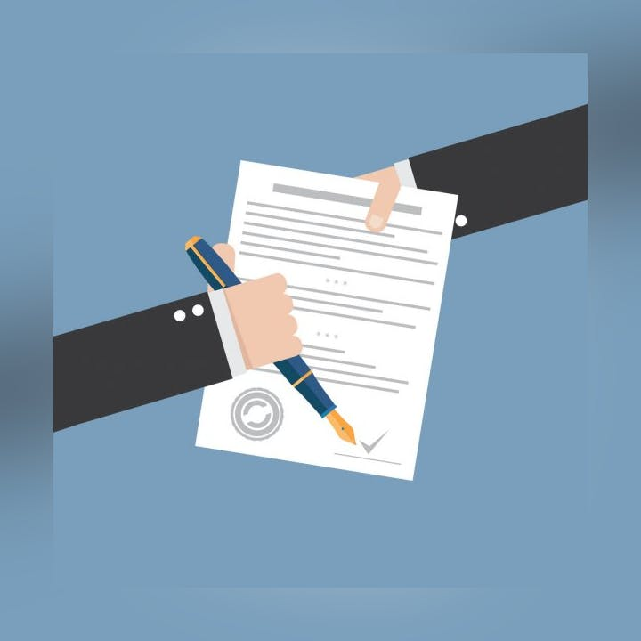 Icon of a person signing a contract document