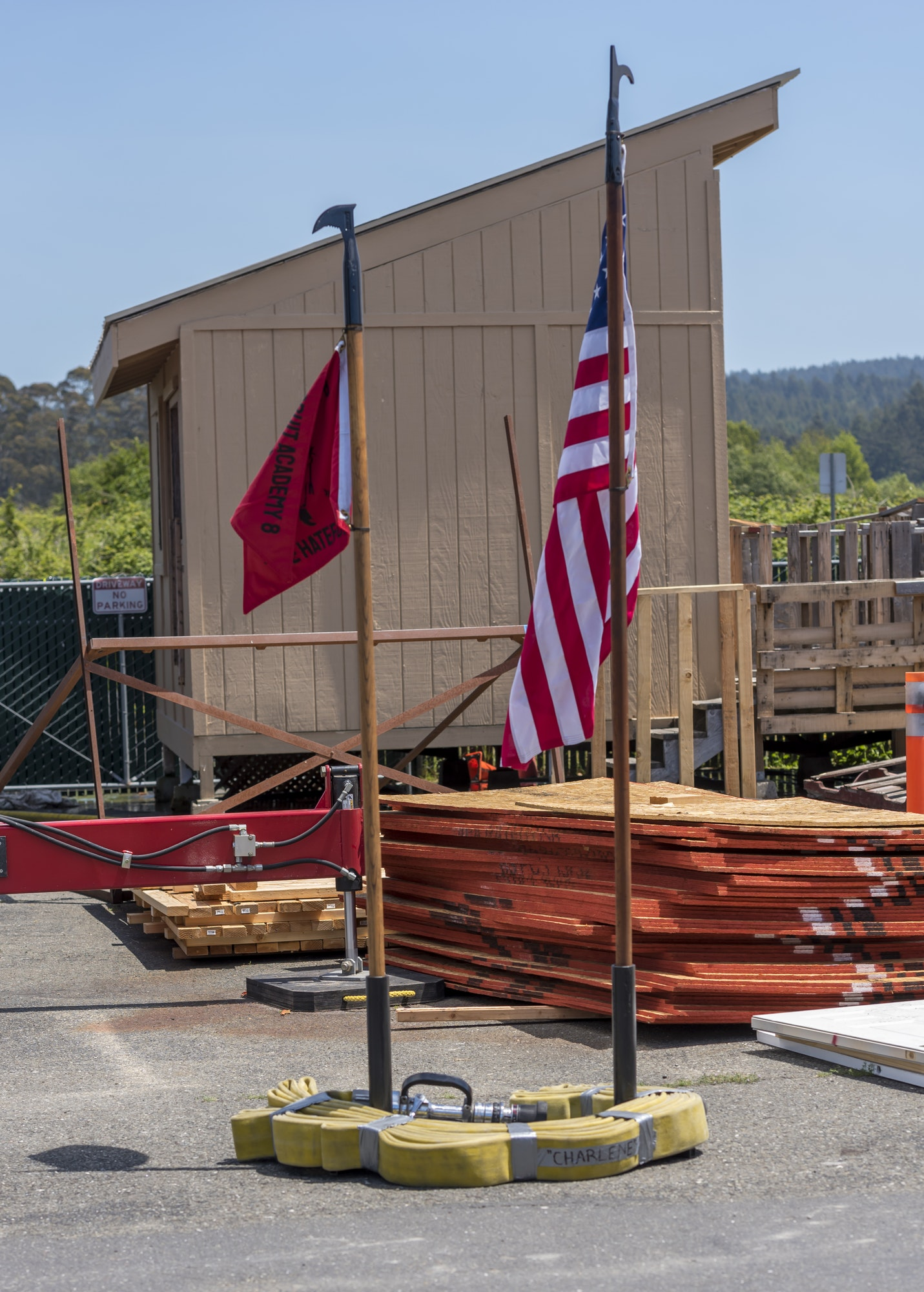 May contain: wood, flag, symbol, watercraft, transportation, vehicle, and vessel