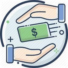 Cartoon hands wrapping around paper money