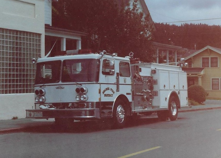White fire engine from past