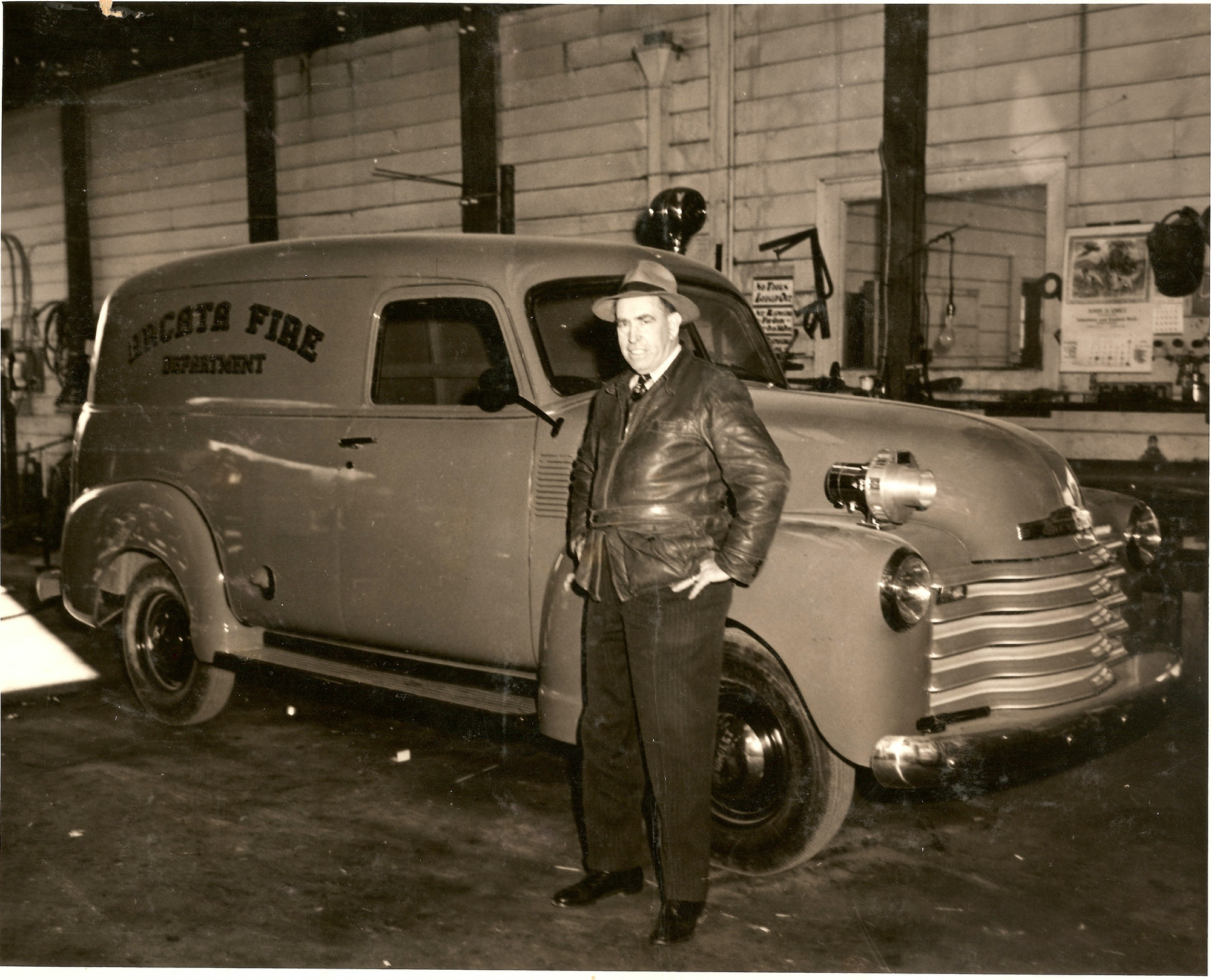 Chief Wyatt standing by Rescue Truck
