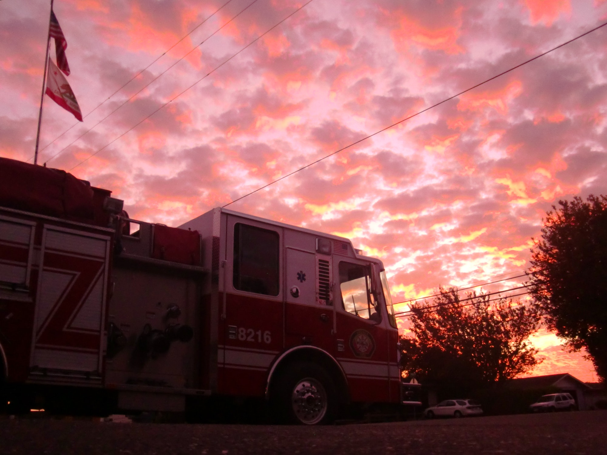 fire engine at sunset
