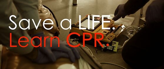 Photo or CPR with caption of Save a Life, Learn CPR.